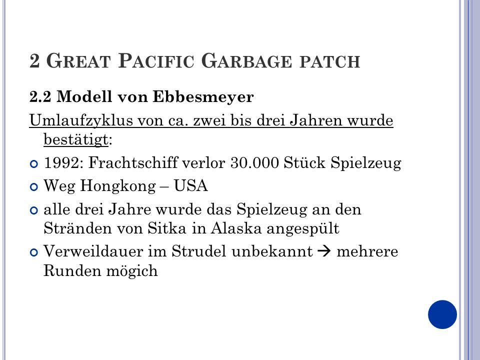 2 G REAT P ACIFIC G ARBAGE PATCH 2.2 Modell von Ebbesmeyer Umlaufzyklus von ca. zwei bis drei Jahren wurde bestätigt: 1992: Frachtschiff verlor 30.000