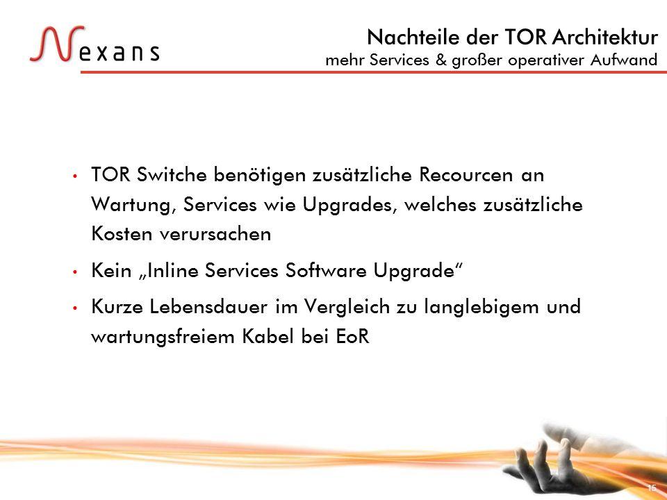15 Nachteile der TOR Architektur mehr Services & großer operativer Aufwand TOR Switche benötigen zusätzliche Recourcen an Wartung, Services wie Upgrad