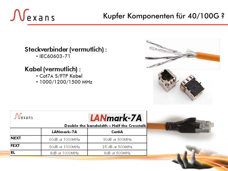 30 Kupfer Komponenten für 40/100G ? Steckverbinder (vermutlich) : IEC60603-71 Kabel (vermutlich) : Cat7 A S/FTP Kabel 1000/1200/1500 MHz