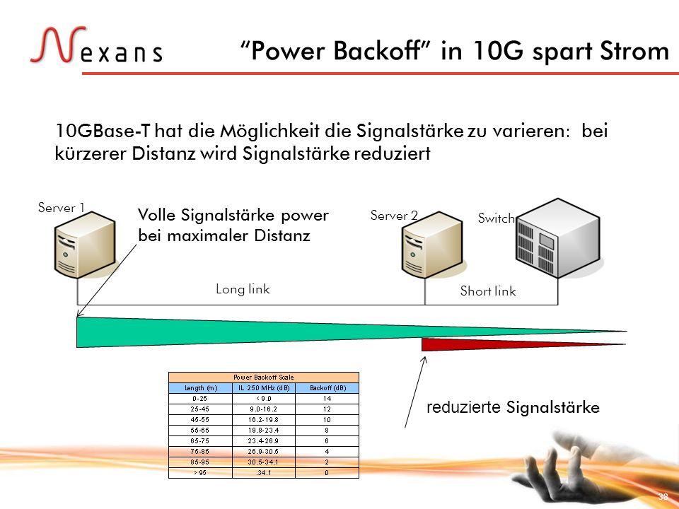 38 Power Backoff in 10G spart Strom Server 1 Server 2 Switch Long link Short link 10GBase-T hat die Möglichkeit die Signalstärke zu varieren: bei kürz