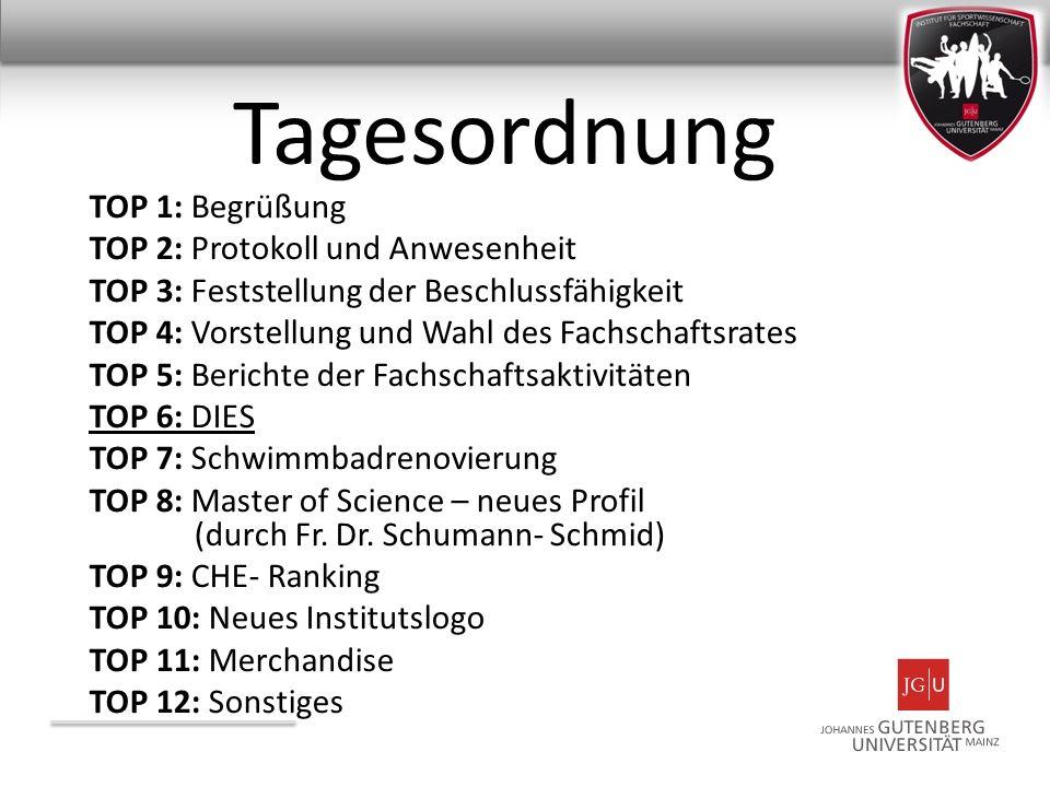 Tagesordnung TOP 1: Begrüßung TOP 2: Protokoll und Anwesenheit TOP 3: Feststellung der Beschlussfähigkeit TOP 4: Vorstellung und Wahl des Fachschaftsr