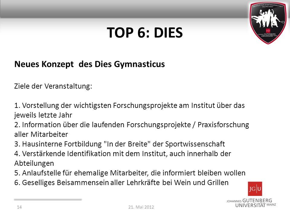 TOP 6: DIES Neues Konzept des Dies Gymnasticus Ziele der Veranstaltung: 1. Vorstellung der wichtigsten Forschungsprojekte am Institut über das jeweils