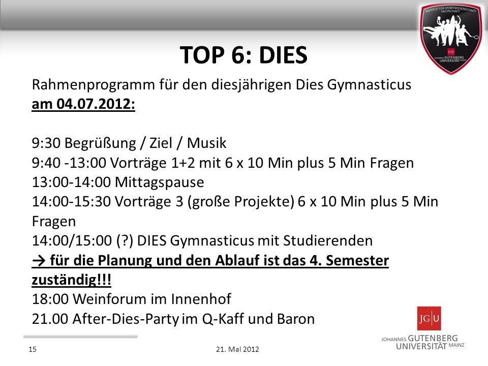 Rahmenprogramm für den diesjährigen Dies Gymnasticus am 04.07.2012: 9:30 Begrüßung / Ziel / Musik 9:40 -13:00 Vorträge 1+2 mit 6 x 10 Min plus 5 Min F