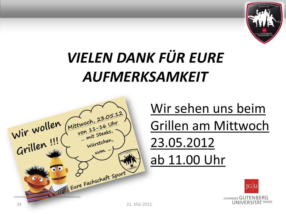 VIELEN DANK FÜR EURE AUFMERKSAMKEIT 3421. Mai 2012 Wir sehen uns beim Grillen am Mittwoch 23.05.2012 ab 11.00 Uhr