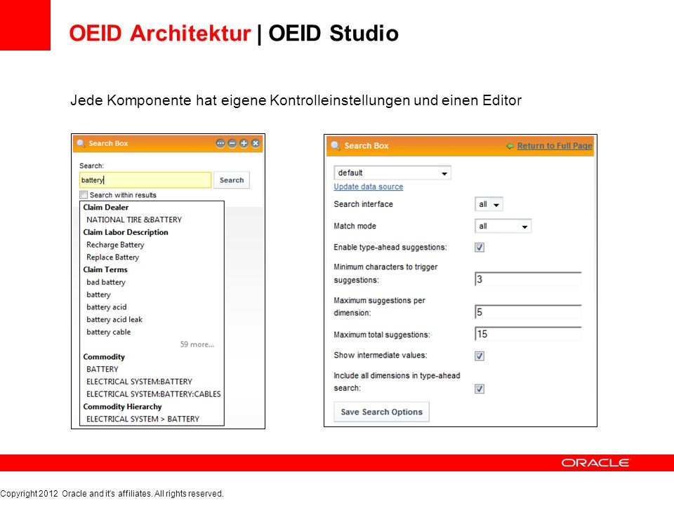 OEID Architektur | OEID Studio Jede Komponente hat eigene Kontrolleinstellungen und einen Editor Copyright 2012 Oracle and it's affiliates. All rights