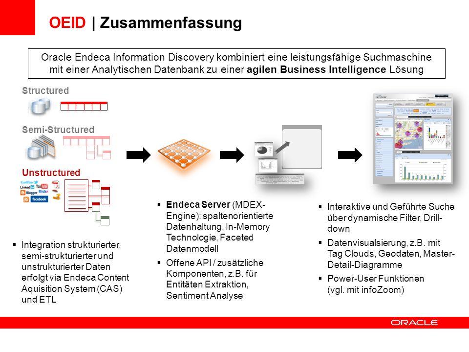 Integration strukturierter, semi-strukturierter und unstrukturierter Daten erfolgt via Endeca Content Aquisition System (CAS) und ETL OEID | Zusammenf