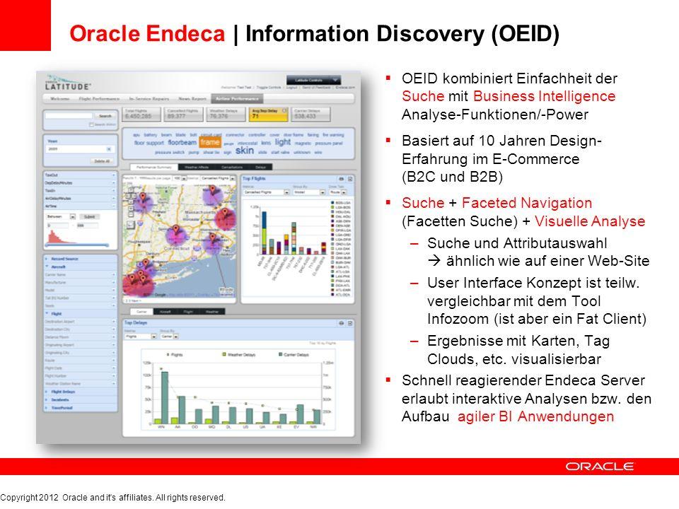 OEID Architektur | Information Integration Endeca Server OEID Studio OEID Information Integration Endeca Workbench CloverETL Copyright 2012 Oracle and it s affiliates.