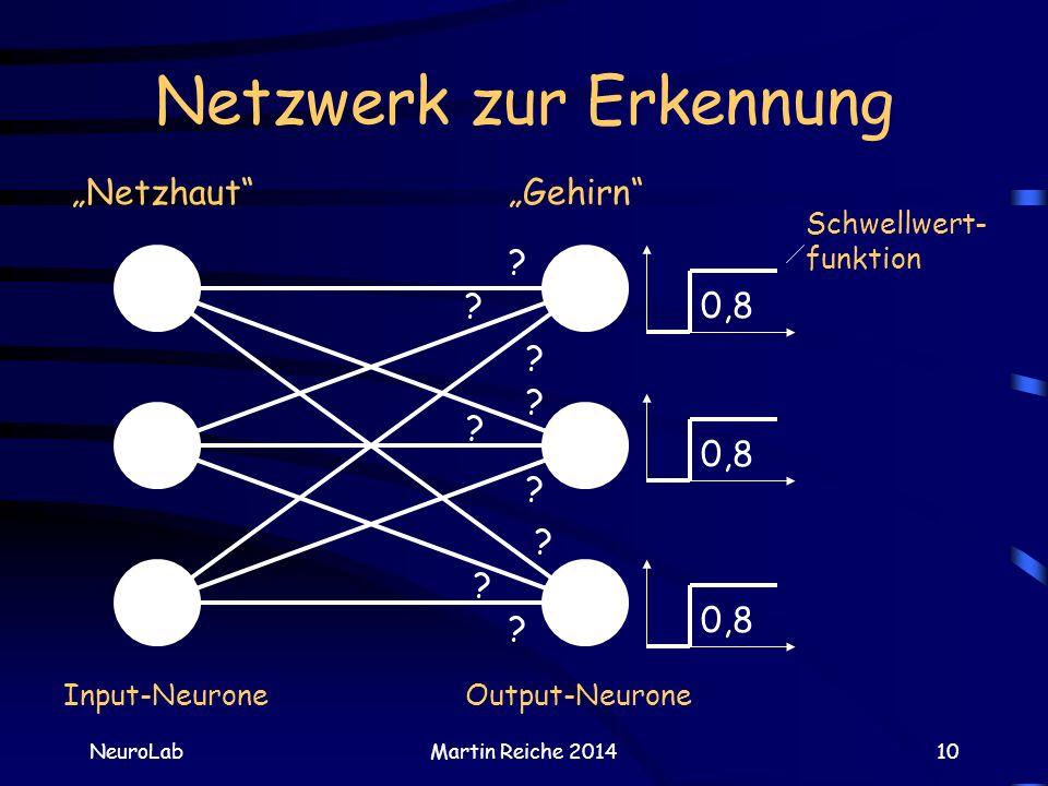Netzwerk zur Erkennung NeuroLabMartin Reiche 201410 Netzhaut Output-Neurone Schwellwert- funktion ? ? ? ? ? ? ? ? ? 0,8 Input-Neurone Gehirn