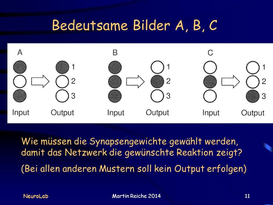 Bedeutsame Bilder A, B, C NeuroLabMartin Reiche 201411 Wie müssen die Synapsengewichte gewählt werden, damit das Netzwerk die gewünschte Reaktion zeig