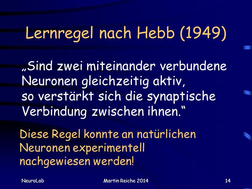 Lernregel nach Hebb (1949) NeuroLabMartin Reiche 201414 Sind zwei miteinander verbundene Neuronen gleichzeitig aktiv, so verstärkt sich die synaptisch
