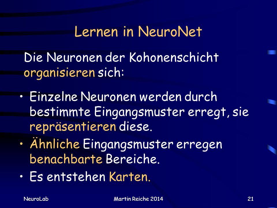 Lernen in NeuroNet Die Neuronen der Kohonenschicht organisieren sich: NeuroLabMartin Reiche 201421 Einzelne Neuronen werden durch bestimmte Eingangsmu