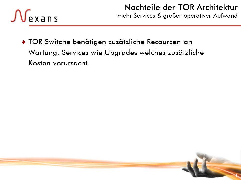 9 Nachteile der TOR Architektur mehr Services & großer operativer Aufwand TOR Switche benötigen zusätzliche Recourcen an Wartung, Services wie Upgrade
