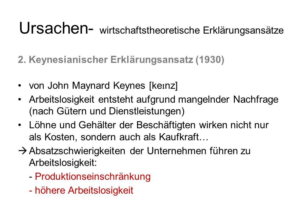 Ursachen- wirtschaftstheoretische Erklärungsansätze 2. Keynesianischer Erklärungsansatz (1930) von John Maynard Keynes [ke ɪ nz] Arbeitslosigkeit ents