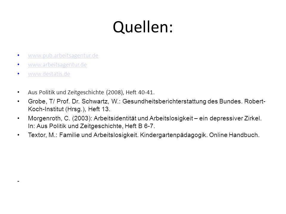 Quellen: www.pub.arbeitsagentur.de www.arbeitsagentur.de www.destatis.de Aus Politik und Zeitgeschichte (2008), Heft 40-41. Grobe, T/ Prof. Dr. Schwar