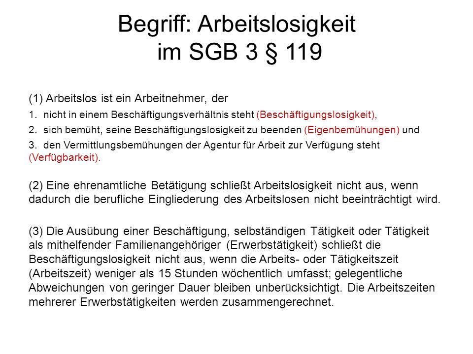 Begriff: Arbeitslosigkeit im SGB 3 § 119 (1) Arbeitslos ist ein Arbeitnehmer, der 1. nicht in einem Beschäftigungsverhältnis steht (Beschäftigungslosi