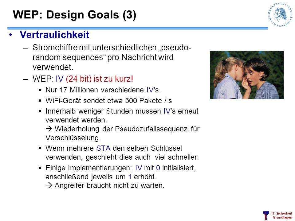 IT-Sicherheit Grundlagen WEP: Design Goals (3) Vertraulichkeit –Stromchiffre mit unterschiedlichen pseudo- random sequences pro Nachricht wird verwend