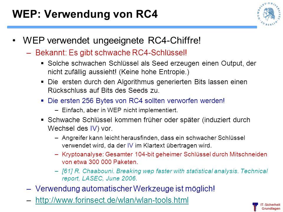 IT-Sicherheit Grundlagen WEP: Verwendung von RC4 WEP verwendet ungeeignete RC4-Chiffre! –Bekannt: Es gibt schwache RC4-Schlüssel! Solche schwachen Sch