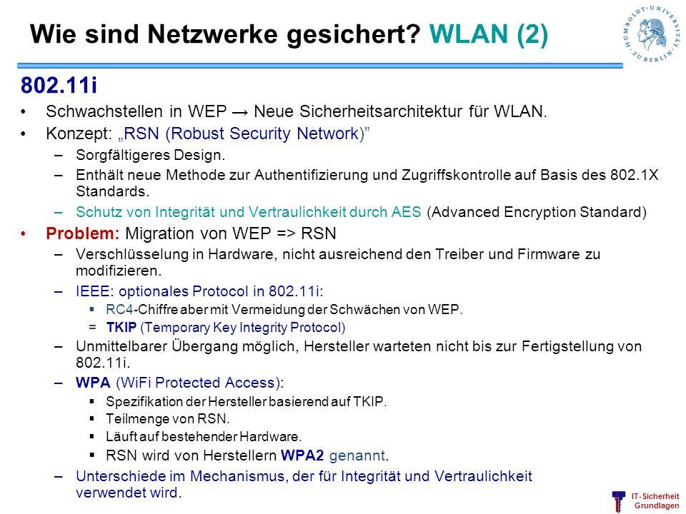 IT-Sicherheit Grundlagen Wie sind Netzwerke gesichert? WLAN (2) 802.11i Schwachstellen in WEP Neue Sicherheitsarchitektur für WLAN. Konzept: RSN (Robu