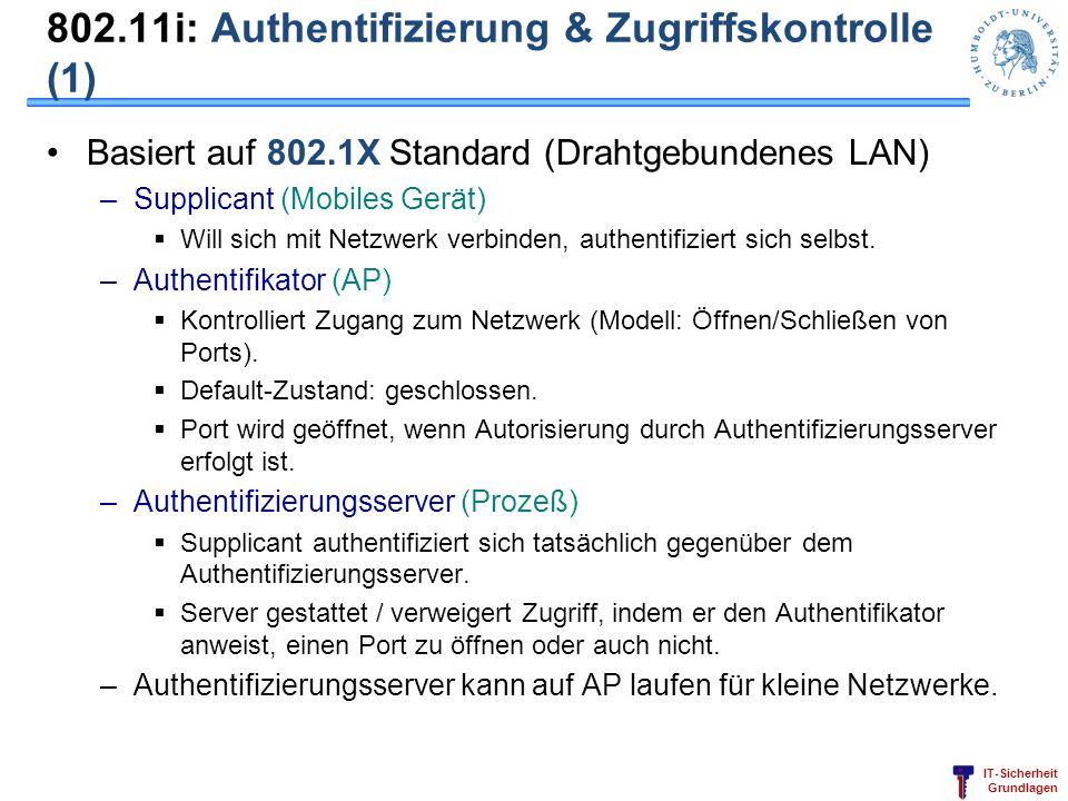 IT-Sicherheit Grundlagen 802.11i: Authentifizierung & Zugriffskontrolle (1) Basiert auf 802.1X Standard (Drahtgebundenes LAN) –Supplicant (Mobiles Ger