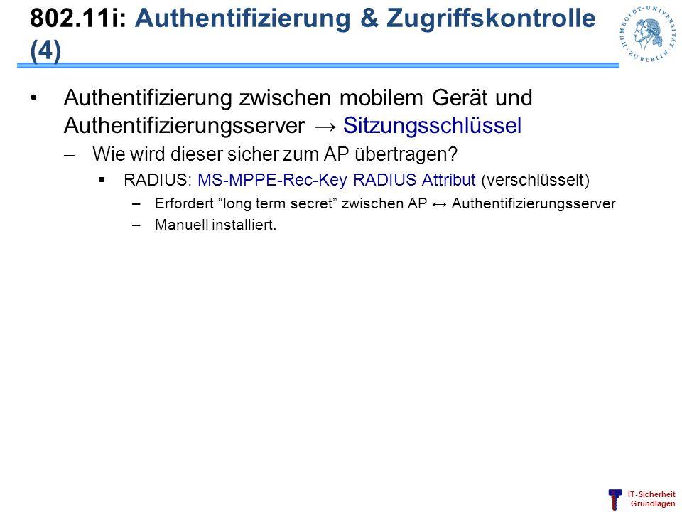 IT-Sicherheit Grundlagen 802.11i: Authentifizierung & Zugriffskontrolle (4) Authentifizierung zwischen mobilem Gerät und Authentifizierungsserver Sitz
