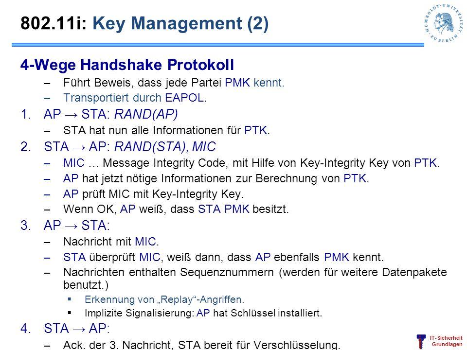 IT-Sicherheit Grundlagen 802.11i: Key Management (2) 4-Wege Handshake Protokoll –Führt Beweis, dass jede Partei PMK kennt. –Transportiert durch EAPOL.