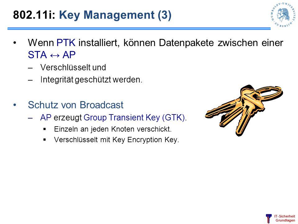 IT-Sicherheit Grundlagen 802.11i: Key Management (3) Wenn PTK installiert, können Datenpakete zwischen einer STA AP –Verschlüsselt und –Integrität ges