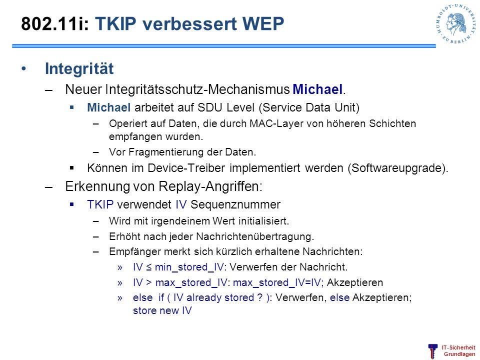 IT-Sicherheit Grundlagen 802.11i: TKIP verbessert WEP Integrität –Neuer Integritätsschutz-Mechanismus Michael. Michael arbeitet auf SDU Level (Service