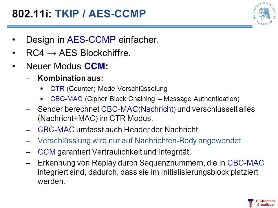 IT-Sicherheit Grundlagen 802.11i: TKIP / AES-CCMP Design in AES-CCMP einfacher. RC4 AES Blockchiffre. Neuer Modus CCM: –Kombination aus: CTR (Counter)