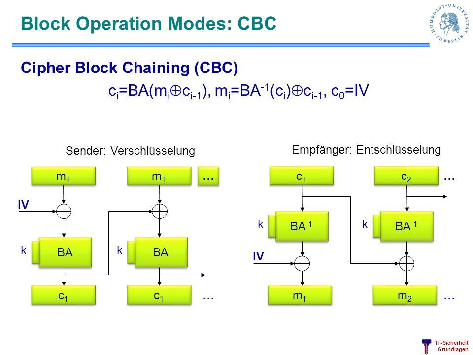 IT-Sicherheit Grundlagen Block Operation Modes: CBC Cipher Block Chaining (CBC) c i =BA(m i c i-1 ), m i =BA -1 (c i ) c i-1, c 0 =IV BA k m1m1 m1m1 c
