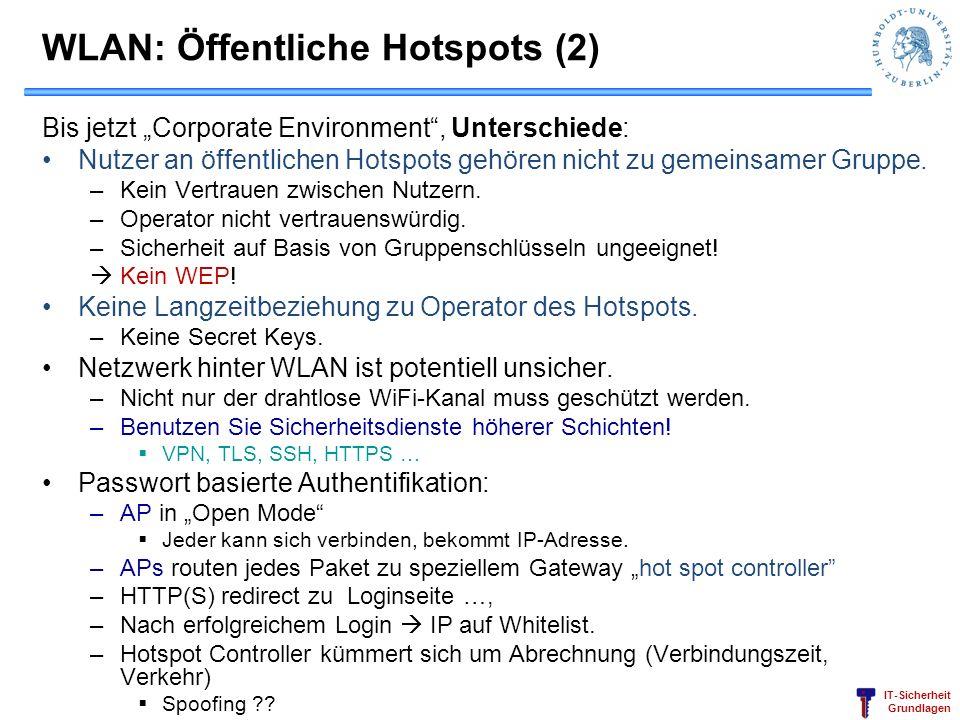 IT-Sicherheit Grundlagen WLAN: Öffentliche Hotspots (2) Bis jetzt Corporate Environment, Unterschiede: Nutzer an öffentlichen Hotspots gehören nicht z