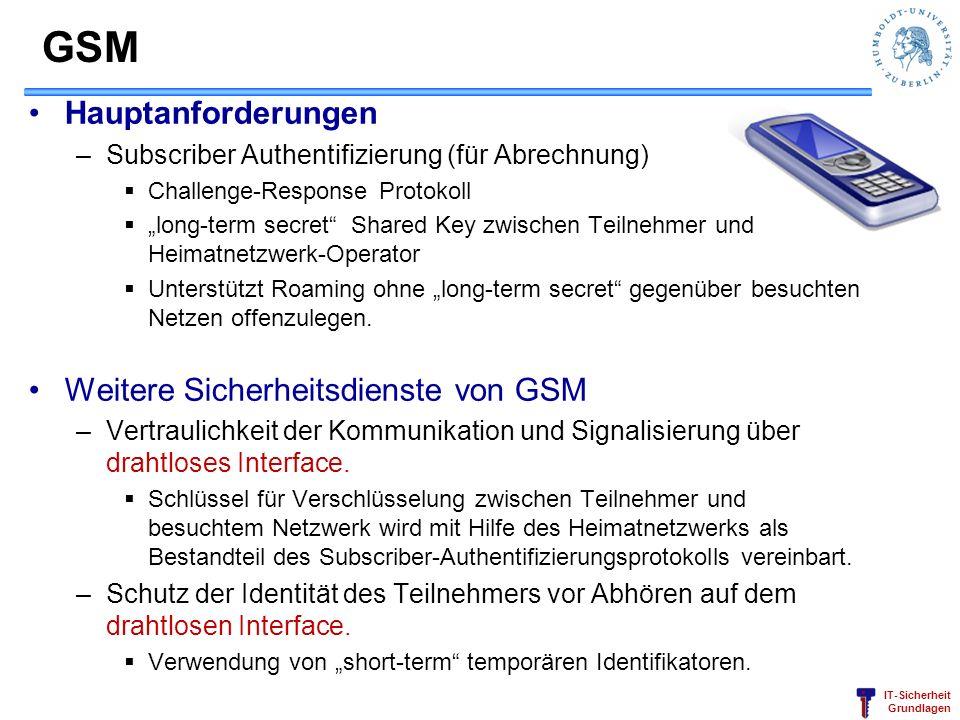 IT-Sicherheit Grundlagen GSM Hauptanforderungen –Subscriber Authentifizierung (für Abrechnung) Challenge-Response Protokoll long-term secret Shared Ke