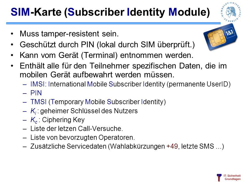 IT-Sicherheit Grundlagen SIM-Karte (Subscriber Identity Module) Muss tamper-resistent sein. Geschützt durch PIN (lokal durch SIM überprüft.) Kann vom