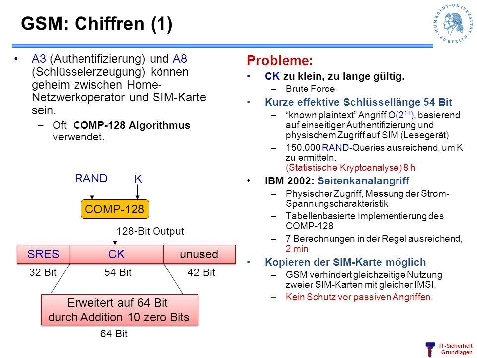 IT-Sicherheit Grundlagen GSM: Chiffren (1) A3 (Authentifizierung) und A8 (Schlüsselerzeugung) können geheim zwischen Home- Netzwerkoperator und SIM-Ka