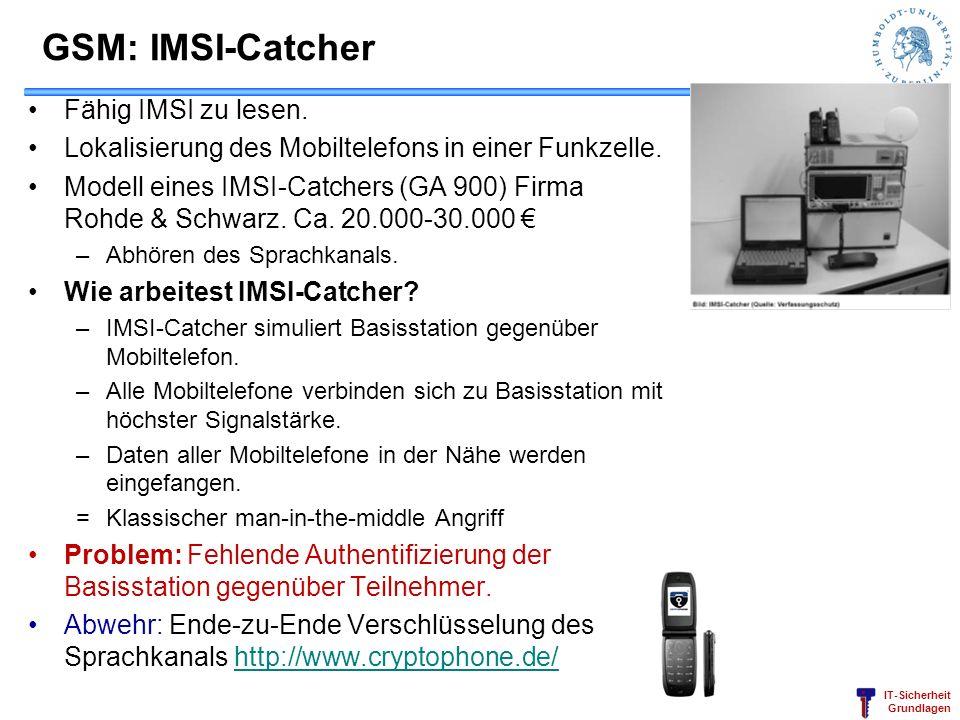 IT-Sicherheit Grundlagen GSM: IMSI-Catcher Fähig IMSI zu lesen. Lokalisierung des Mobiltelefons in einer Funkzelle. Modell eines IMSI-Catchers (GA 900