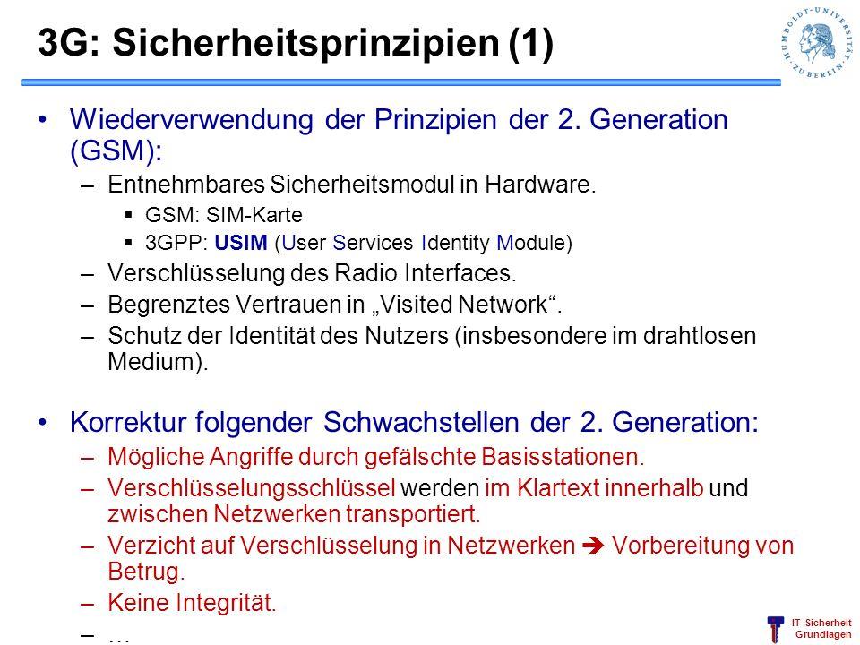 IT-Sicherheit Grundlagen 3G: Sicherheitsprinzipien (1) Wiederverwendung der Prinzipien der 2. Generation (GSM): –Entnehmbares Sicherheitsmodul in Hard