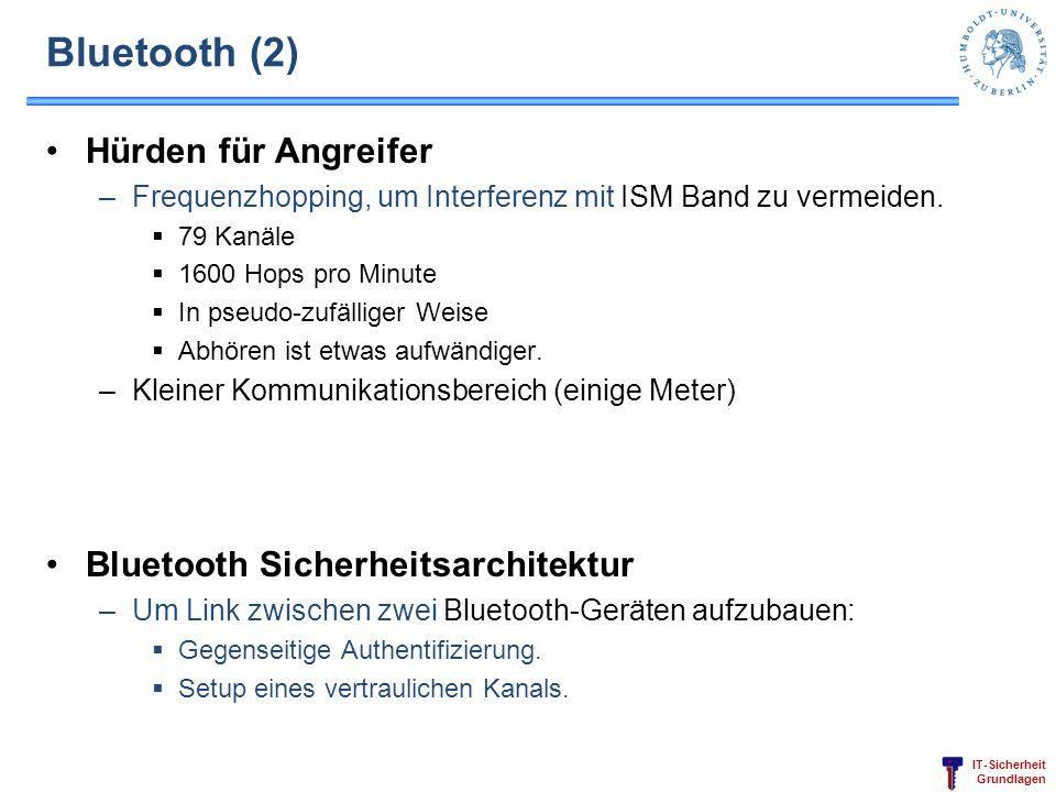 IT-Sicherheit Grundlagen Bluetooth (2) Hürden für Angreifer –Frequenzhopping, um Interferenz mit ISM Band zu vermeiden. 79 Kanäle 1600 Hops pro Minute