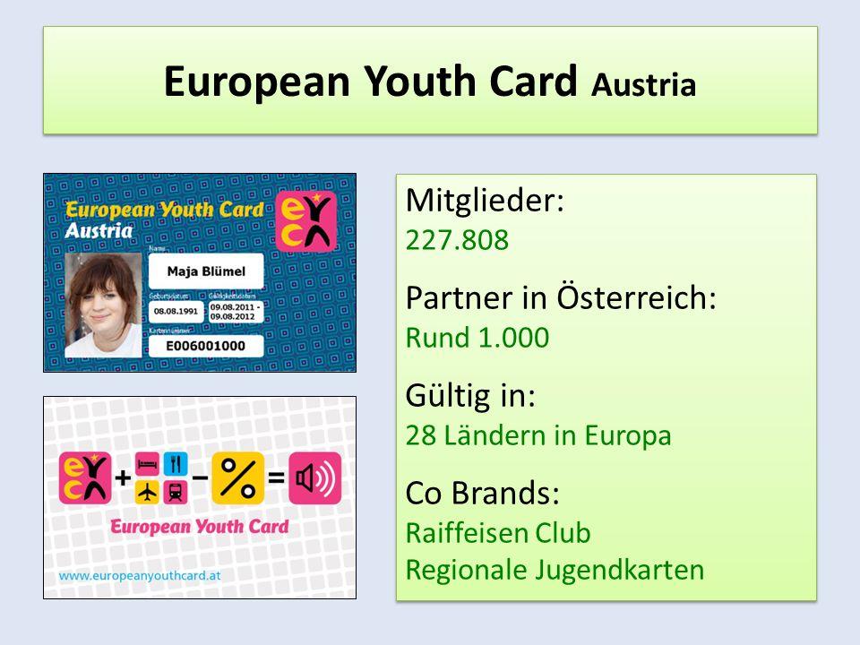 European Youth Card Austria Mitglieder: 227.808 Partner in Österreich: Rund 1.000 Gültig in: 28 Ländern in Europa Co Brands: Raiffeisen Club Regionale Jugendkarten Mitglieder: 227.808 Partner in Österreich: Rund 1.000 Gültig in: 28 Ländern in Europa Co Brands: Raiffeisen Club Regionale Jugendkarten