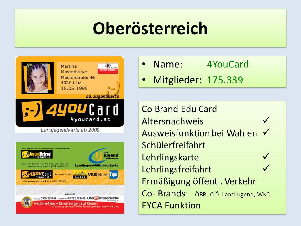 Salzburg Name: S-Pass Mitglieder: 31.010 Name: S-Pass Mitglieder: 31.010 Co Brand Edu Card: Altersnachweis: Ausweisfunktion bei Wahlen: Schülerfreifahrt: Lehrlingskarte: Lehrlingsfreifahrt: Ermäßigung öffentl.