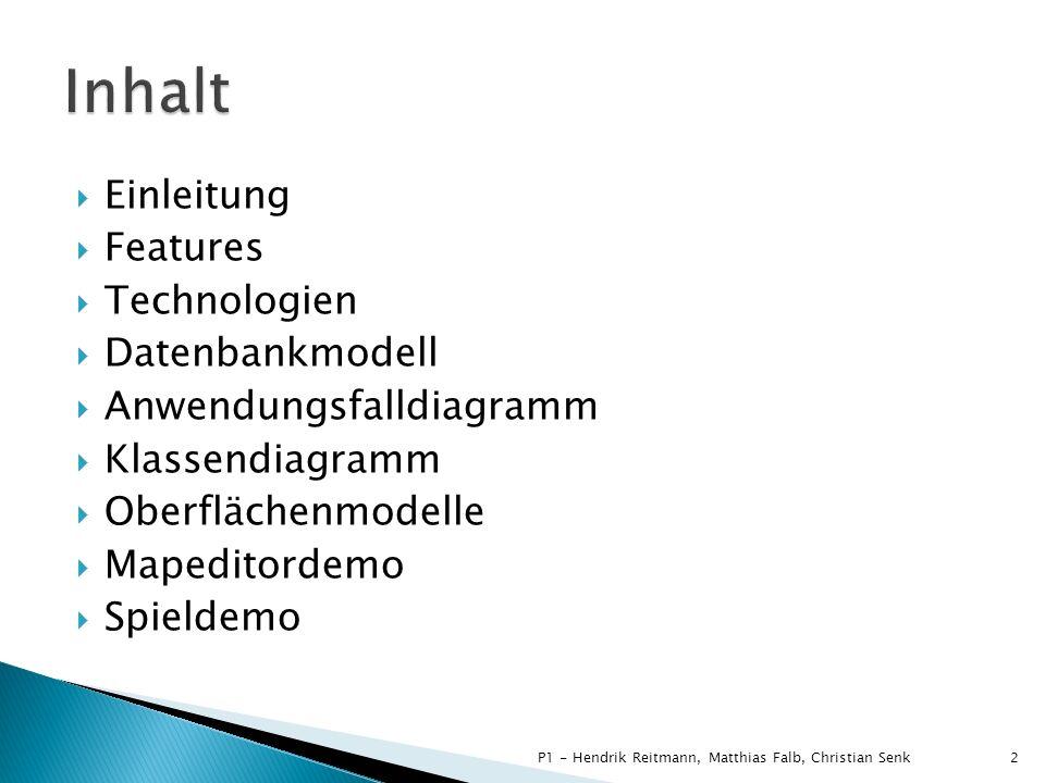 Einleitung Features Technologien Datenbankmodell Anwendungsfalldiagramm Klassendiagramm Oberflächenmodelle Mapeditordemo Spieldemo 2P1 - Hendrik Reitm