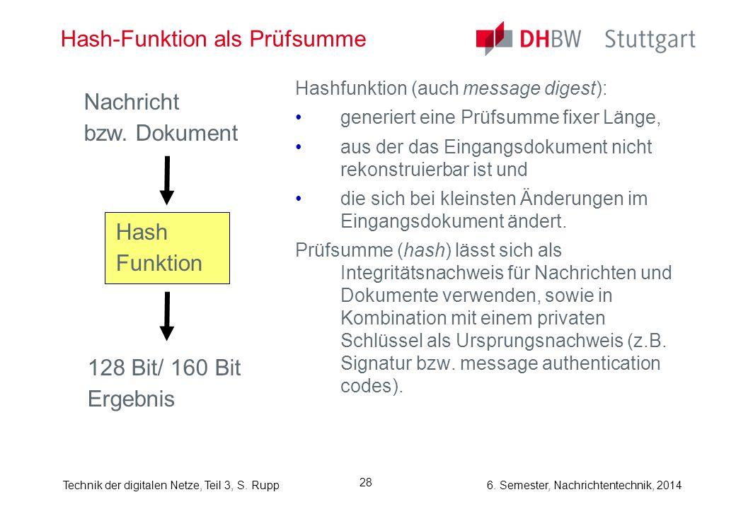 Technik der digitalen Netze, Teil 3, S. Rupp 6. Semester, Nachrichtentechnik, 2014 28 Hash-Funktion als Prüfsumme Hashfunktion (auch message digest):