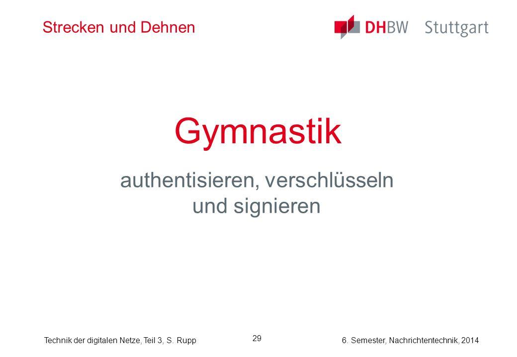Technik der digitalen Netze, Teil 3, S. Rupp 6. Semester, Nachrichtentechnik, 2014 29 Strecken und Dehnen Gymnastik authentisieren, verschlüsseln und