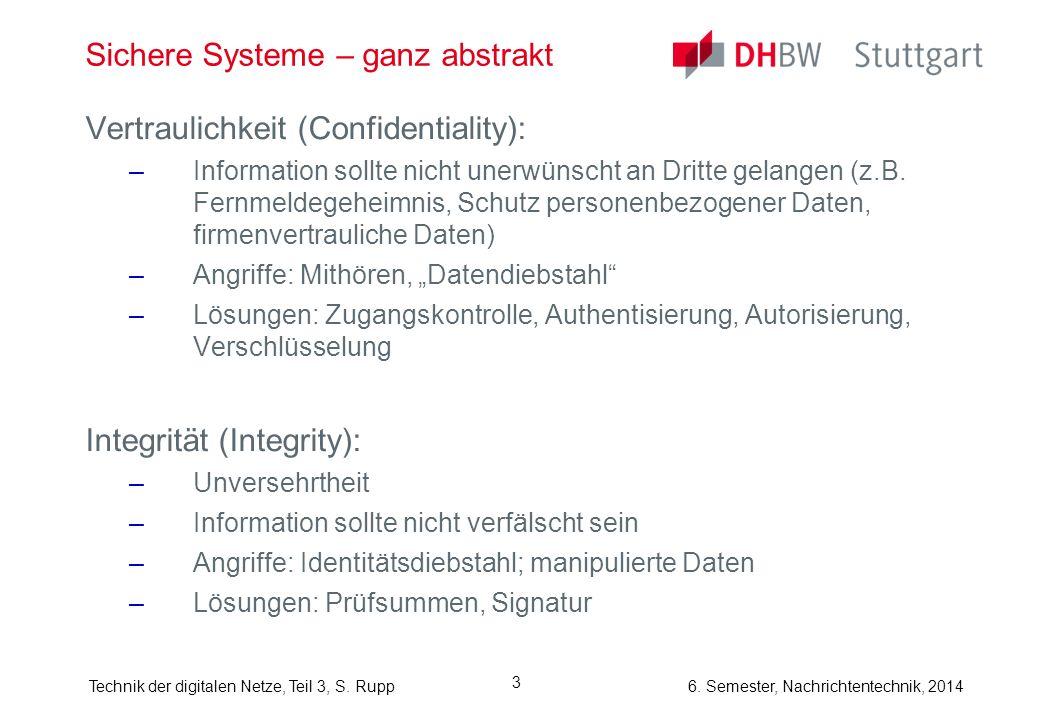 Technik der digitalen Netze, Teil 3, S. Rupp 6. Semester, Nachrichtentechnik, 2014 3 Sichere Systeme – ganz abstrakt Vertraulichkeit (Confidentiality)