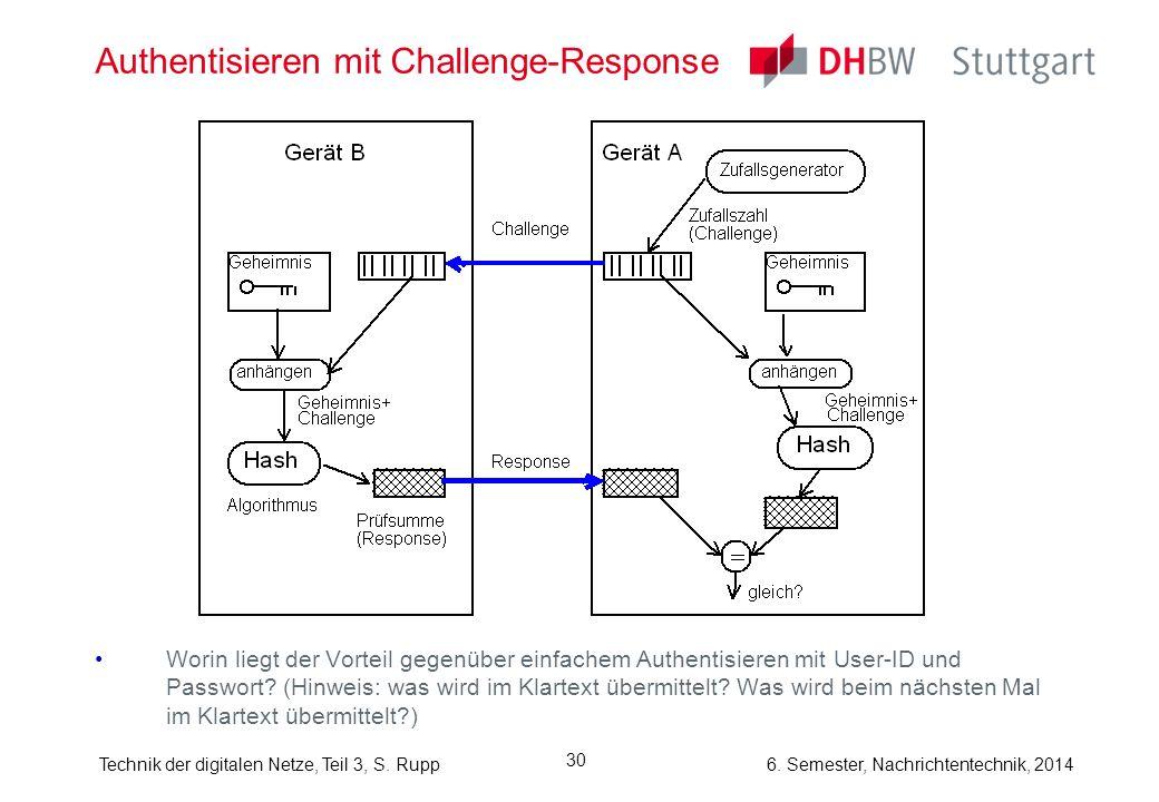 Technik der digitalen Netze, Teil 3, S. Rupp 6. Semester, Nachrichtentechnik, 2014 30 Authentisieren mit Challenge-Response Worin liegt der Vorteil ge