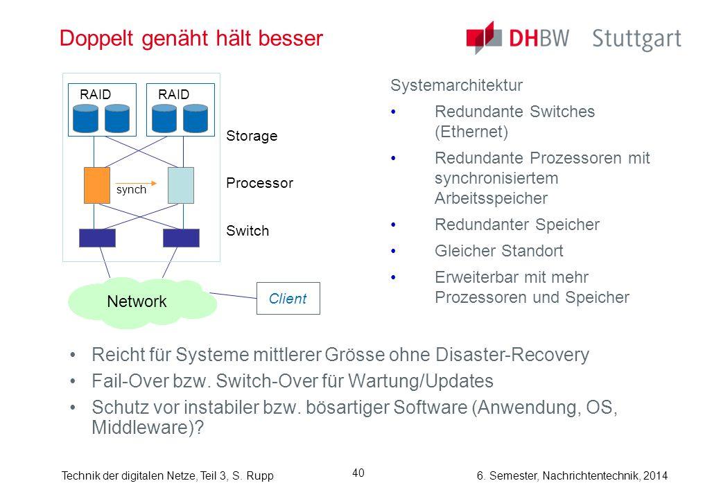 Technik der digitalen Netze, Teil 3, S. Rupp 6. Semester, Nachrichtentechnik, 2014 40 Doppelt genäht hält besser Systemarchitektur Redundante Switches
