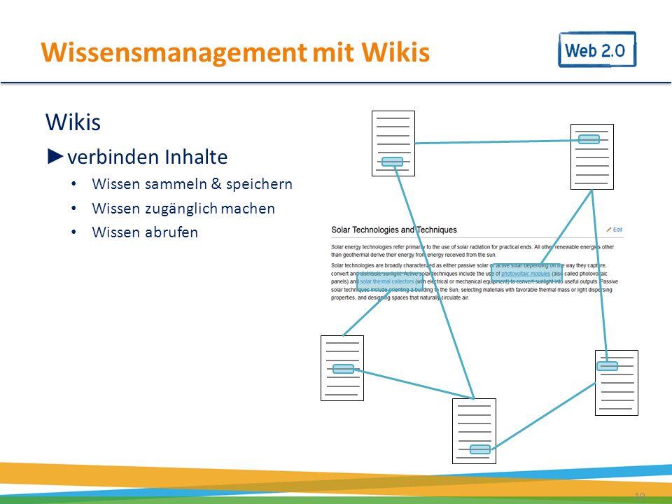 19 Wikis verbinden Inhalte Wissen sammeln & speichern Wissen zugänglich machen Wissen abrufen Wissensmanagement mit Wikis