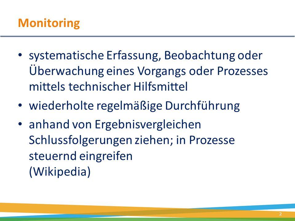 Monitoring systematische Erfassung, Beobachtung oder Überwachung eines Vorgangs oder Prozesses mittels technischer Hilfsmittel wiederholte regelmäßige