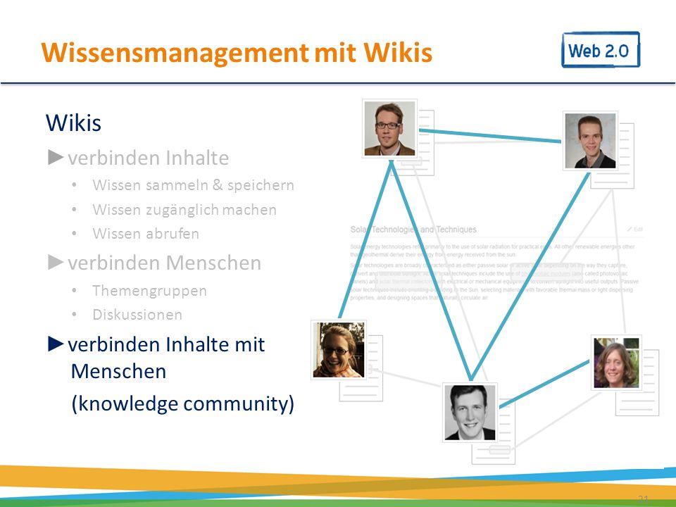 21 Wikis verbinden Inhalte Wissen sammeln & speichern Wissen zugänglich machen Wissen abrufen verbinden Menschen Themengruppen Diskussionen verbinden