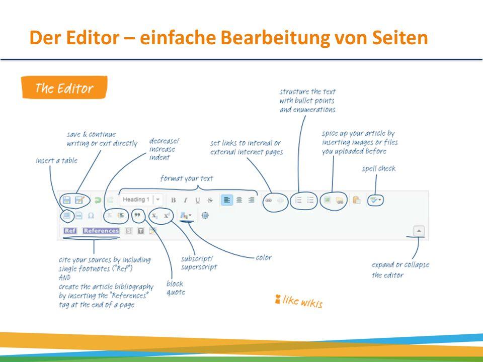 Der Editor – einfache Bearbeitung von Seiten