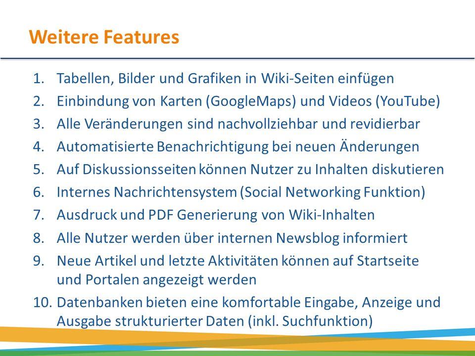 Weitere Features 1.Tabellen, Bilder und Grafiken in Wiki-Seiten einfügen 2.Einbindung von Karten (GoogleMaps) und Videos (YouTube) 3.Alle Veränderunge