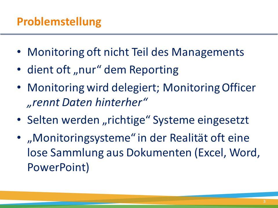 Problemstellung Monitoring oft nicht Teil des Managements dient oft nur dem Reporting Monitoring wird delegiert; Monitoring Officer rennt Daten hinter